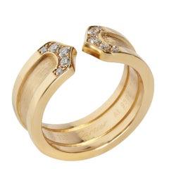 Cartier C de Cartier Diamond 18K Yellow Gold Band Ring Size EU 48