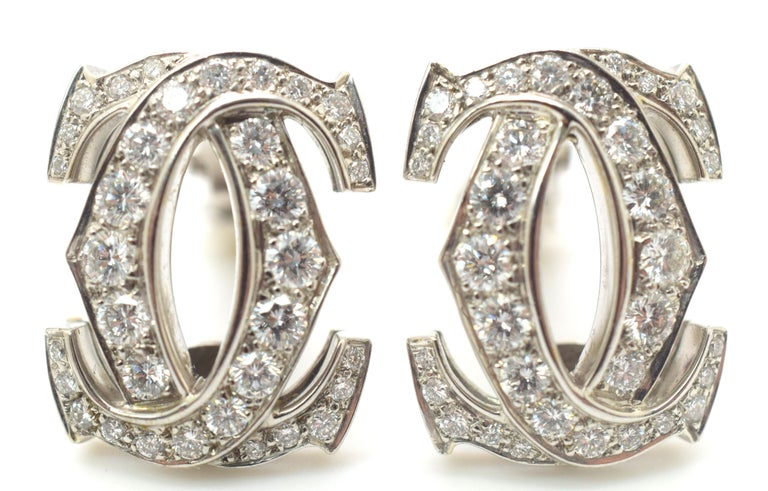 Modern Cartier C de Cartier Diamond Earrings For Sale