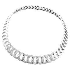 Cartier C De Cartier Diamond White Gold Link Necklace