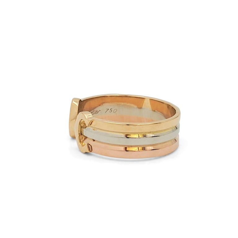 Cartier 'C De Cartier' Tri-Colored Gold Ring In Excellent Condition For Sale In New York, NY
