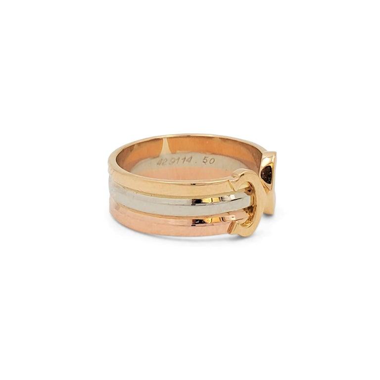 Women's or Men's Cartier 'C De Cartier' Tri-Colored Gold Ring For Sale
