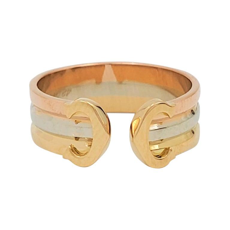 Cartier 'C De Cartier' Tri-Colored Gold Ring For Sale