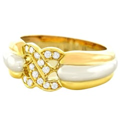 Cartier Diamond Set Trinity Double C's Gold Ring
