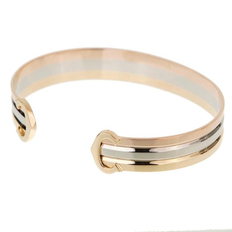 Women's Cartier C De White Yellow Rose Gold Cuff Bracelet For Sale