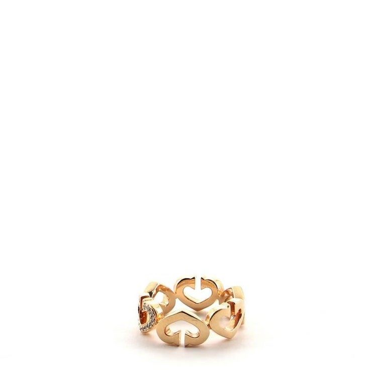 Round Cut Cartier C Heart de Cartier Ring 18 Karat Rose Gold and Diamonds 5.25 - 50