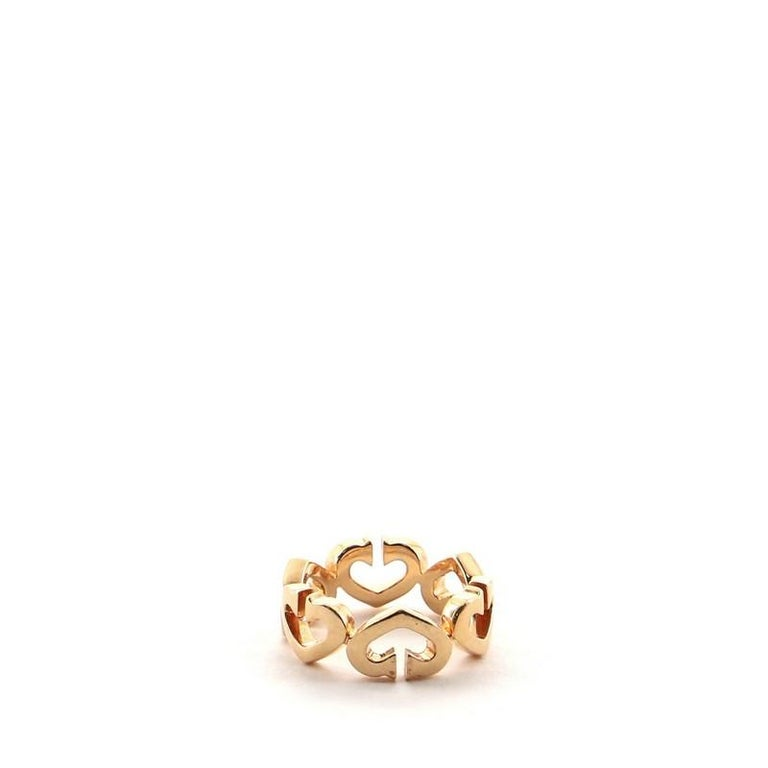 Cartier C Heart de Cartier Ring 18 Karat Rose Gold and Diamonds 5.25 - 50 In Good Condition In New York, NY