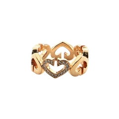 Cartier C Heart de Cartier Ring 18 Karat Rose Gold and Diamonds 5.25 - 50