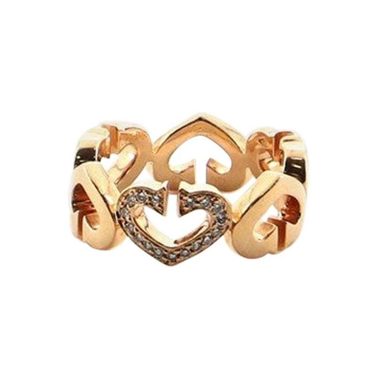Cartier C Heart de Cartier Ring 18 Karat Rose Gold and Diamonds 5.25 - 50