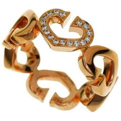 Cartier C Hearts 0.06 Carat Diamonds 18 Karat Pink Gold Ring