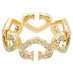 Cartier C Hearts of Cartier Diamond Ring in 18 Karat Yellow Gold 0.6 Carat