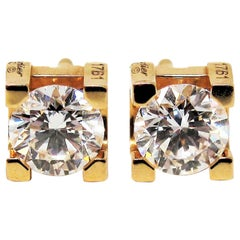 Cartier C Round Diamond Solitaire Stud Earrings Pink Gold 1.00 Carat Total