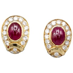 Cartier Cabochon Ruby Diamond Gold Earrings