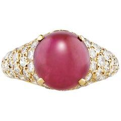 Cartier Cabochon Ruby Diamond Ring