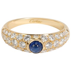 Cartier Cabochon Sapphire and Pave Diamond Ring in 18k Yellow Gold 1.22 Carat