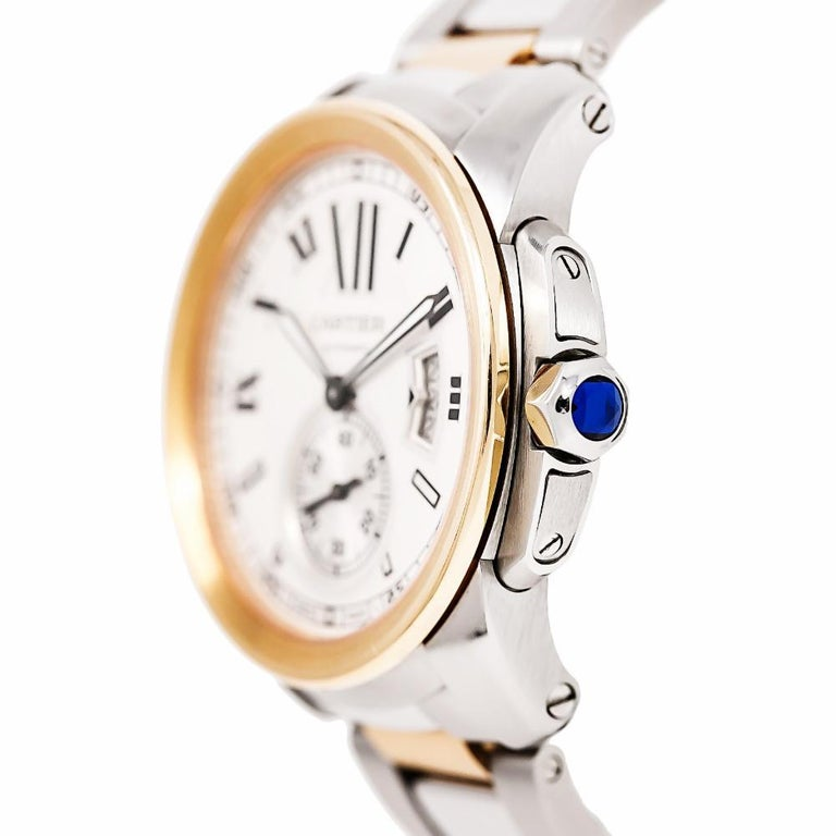 Contemporary Cartier Calibre 3389 W7100036 Men's Automatic Watch 18 Karat Rose Gold and SS