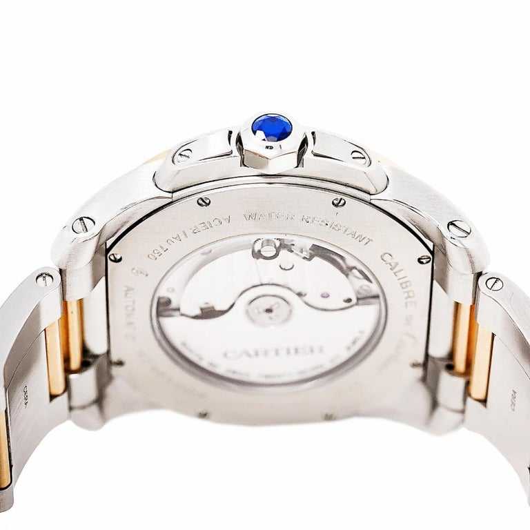 Cartier Calibre 3389 W7100036 Men's Automatic Watch 18 Karat Rose Gold and SS In Excellent Condition In Miami, FL