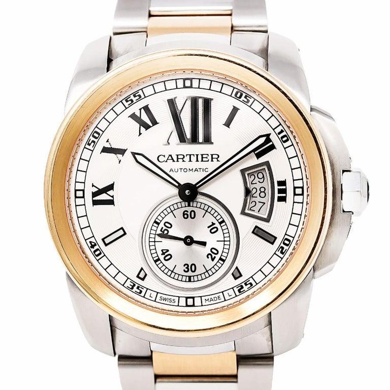 Women's Cartier Calibre 3389 W7100036 Men's Automatic Watch 18 Karat Rose Gold and SS