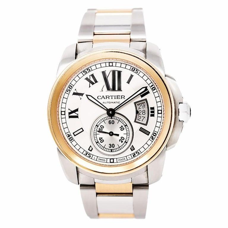 Cartier Calibre 3389 W7100036 Men's Automatic Watch 18 Karat Rose Gold and SS