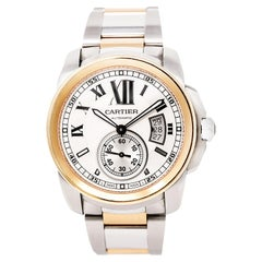 Cartier Calibre 3389 W7100036 Mens Automatic Watch 18K Rose Gold & SS