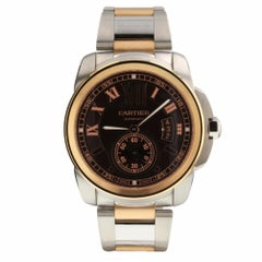 Cartier Calibre Automatic Steel and 18K Rose Gold Chocolate Watch W7100050 2018