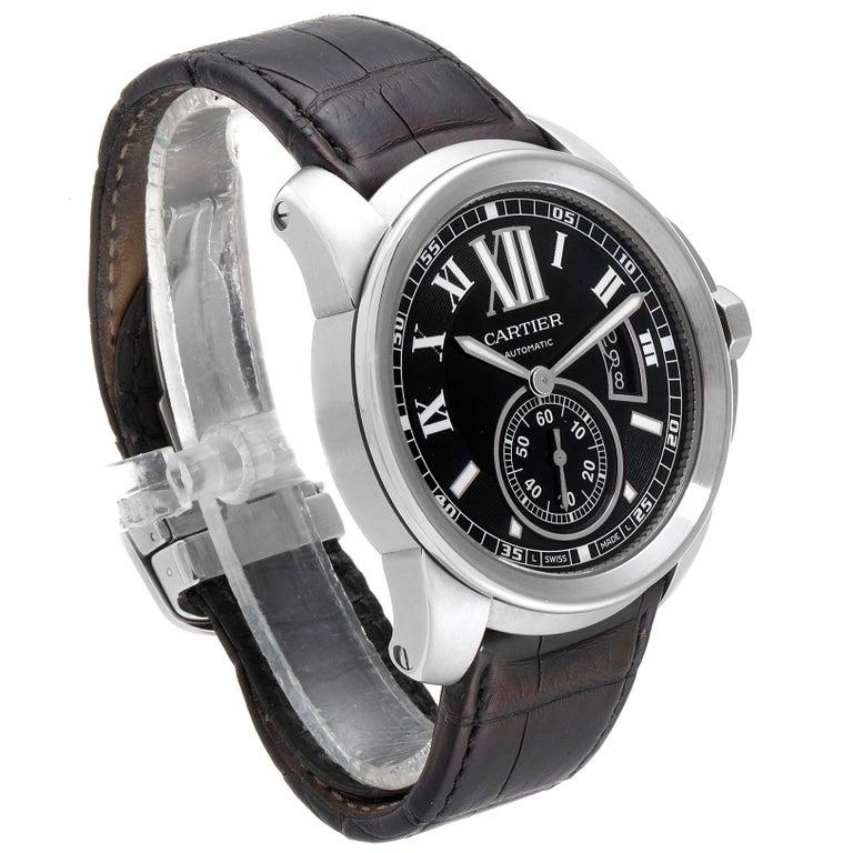 Cartier Calibre Black Dial Automatic Steel Men's Watch W7100041 For Sale 1