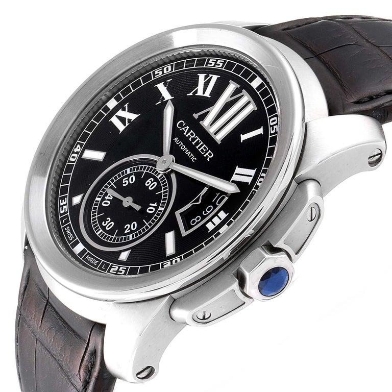 Cartier Calibre Black Dial Automatic Steel Men's Watch W7100041 For Sale 2