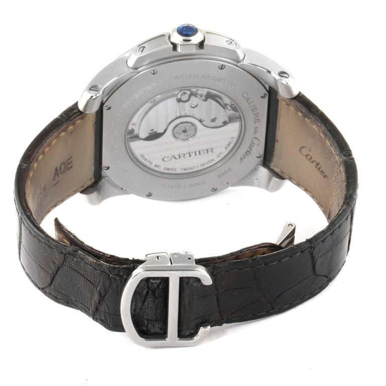 Cartier Calibre Black Dial Automatic Steel Men's Watch W7100041 For Sale 4