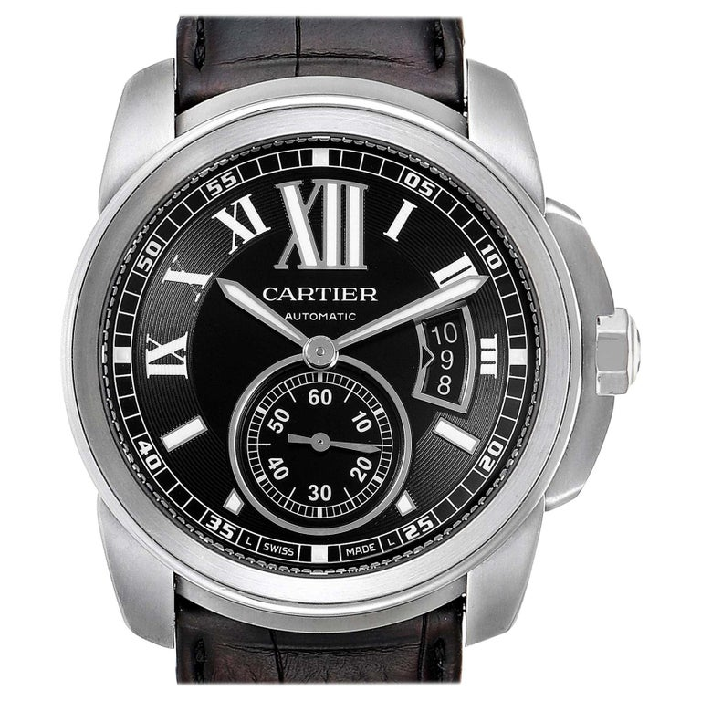 Cartier Calibre Black Dial Automatic Steel Men's Watch W7100041 For Sale