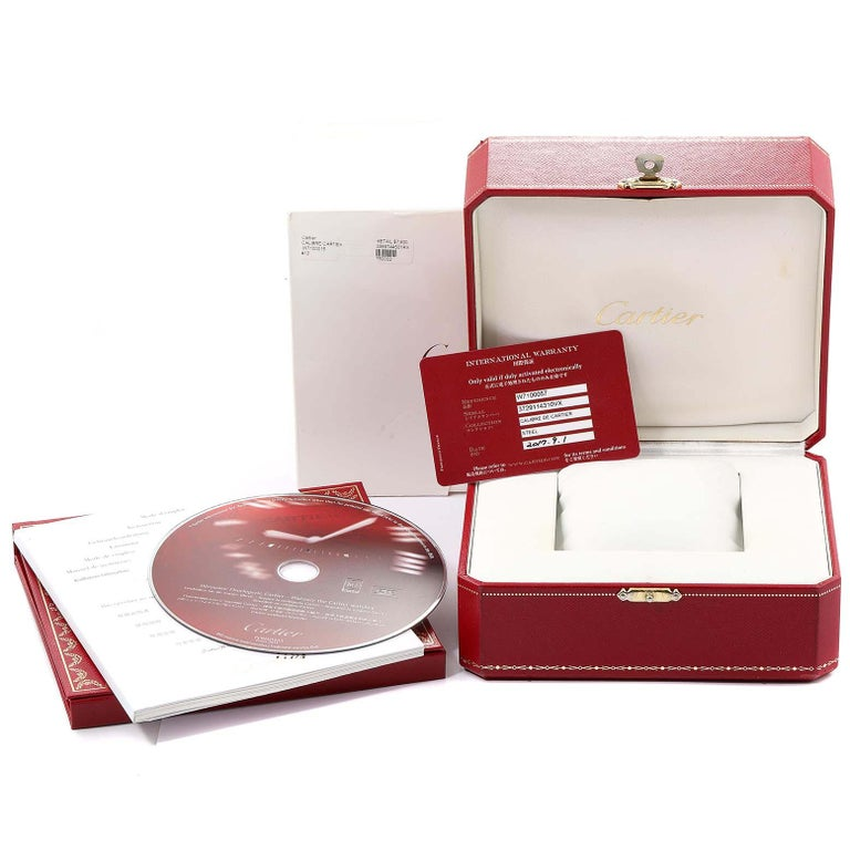 Cartier Calibre Black Dial Automatic Steel Men's Watch W7100057 Box Card For Sale 7