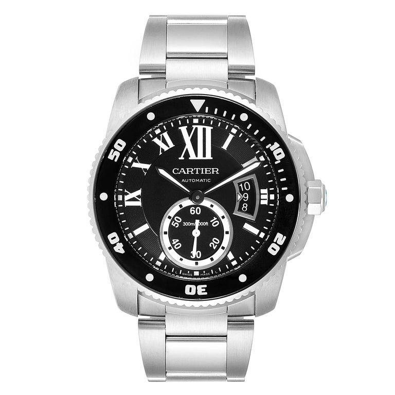 Cartier Calibre Black Dial Automatic Steel Mens Watch W7100057 Box Card. Automatic self-winding movement. Stainless steel case 42.0 mm in diameter. Crown cover with faceted blue spinel. Unidirectional rotating black ADLC-coated steel bezel with