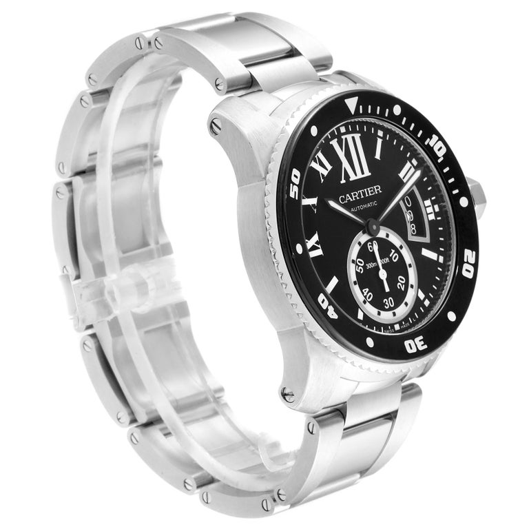Cartier Calibre Black Dial Automatic Steel Men's Watch W7100057 Box Card In Excellent Condition For Sale In Atlanta, GA