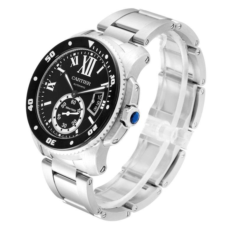 Cartier Calibre Black Dial Automatic Steel Men's Watch W7100057 Box Card For Sale 1