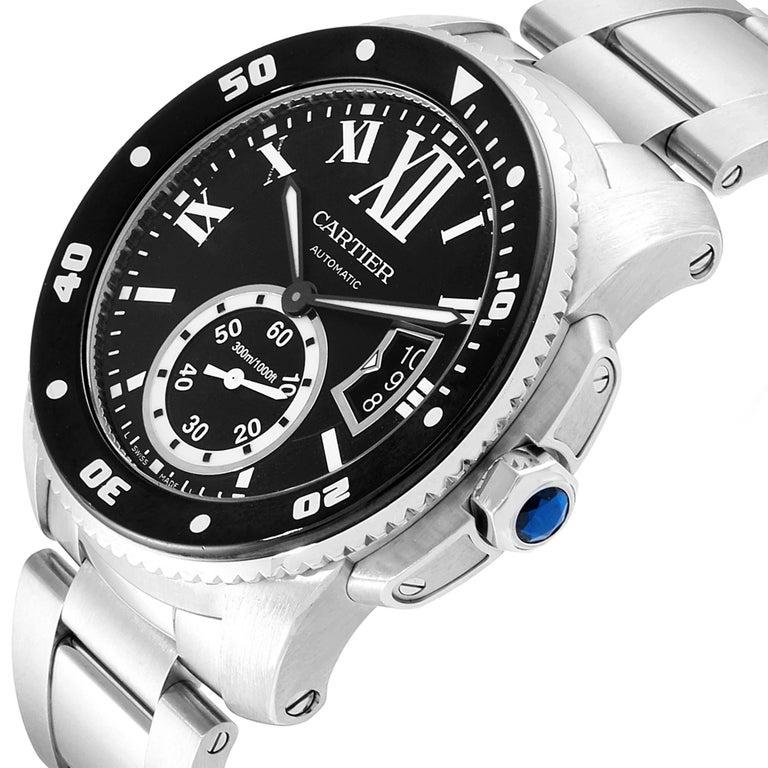 Cartier Calibre Black Dial Automatic Steel Men's Watch W7100057 Box Card For Sale 2
