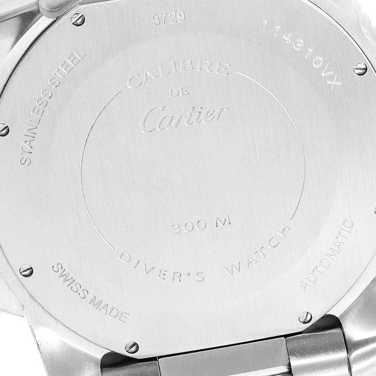 Cartier Calibre Black Dial Automatic Steel Men's Watch W7100057 Box Card For Sale 3