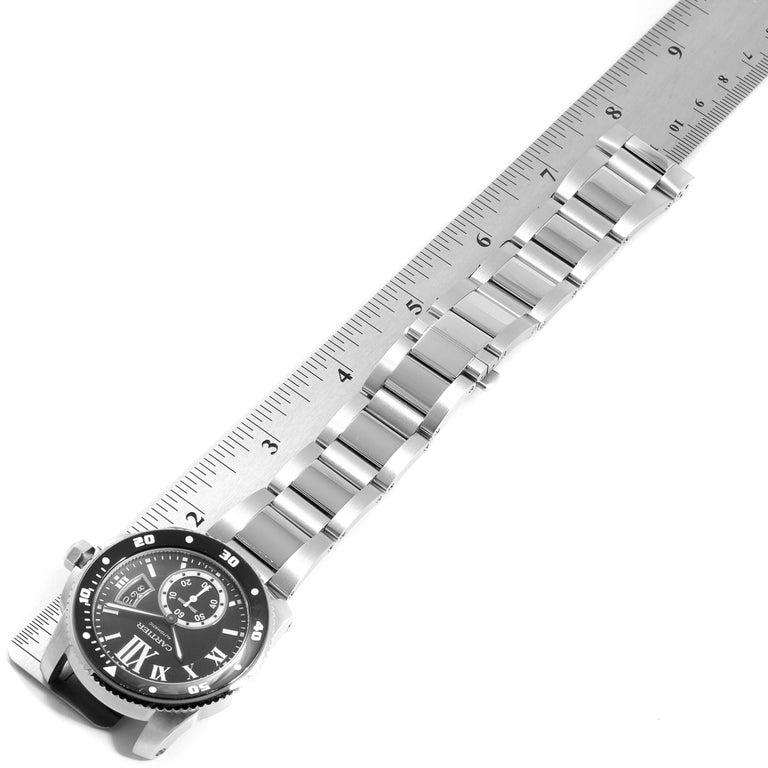 Cartier Calibre Black Dial Automatic Steel Men's Watch W7100057 Box Card For Sale 5