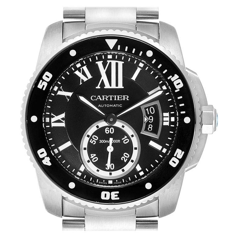 Cartier Calibre Black Dial Automatic Steel Men's Watch W7100057 Box Card For Sale