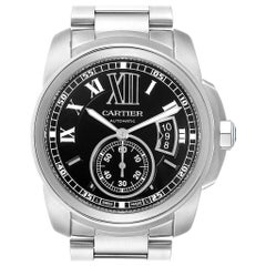 Cartier Calibre Black Dial Automatic Steel Men's Watch W7100057