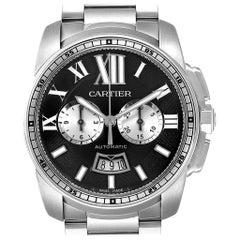 Cartier Calibre Black Dial Cronograph Steel Men's Watch W7100061
