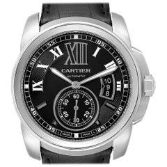 Cartier Calibre Black Dial Leather Strap Steel Men's Watch W7100014