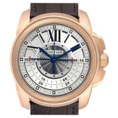 Cartier Calibre Central Chronograph Rose Gold Men's Watch W7100004