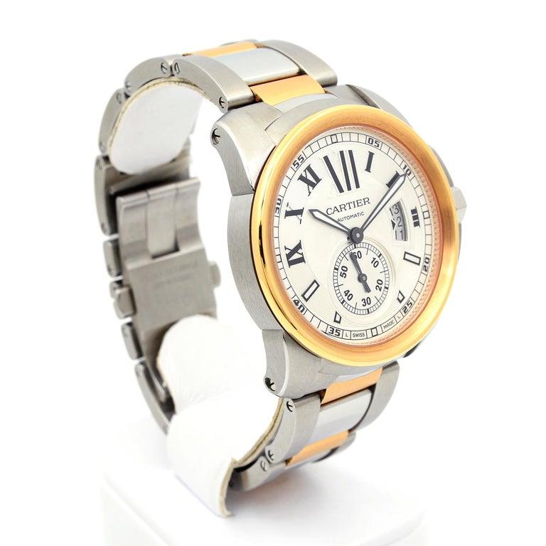 Modern Cartier Calibre de Cartier 18 Karat Pink Gold & Stainless Steel Watch For Sale