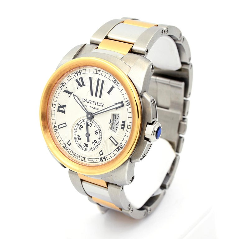 Cartier Calibre de Cartier 18 Karat Pink Gold & Stainless Steel Watch In New Condition For Sale In Dallas, TX