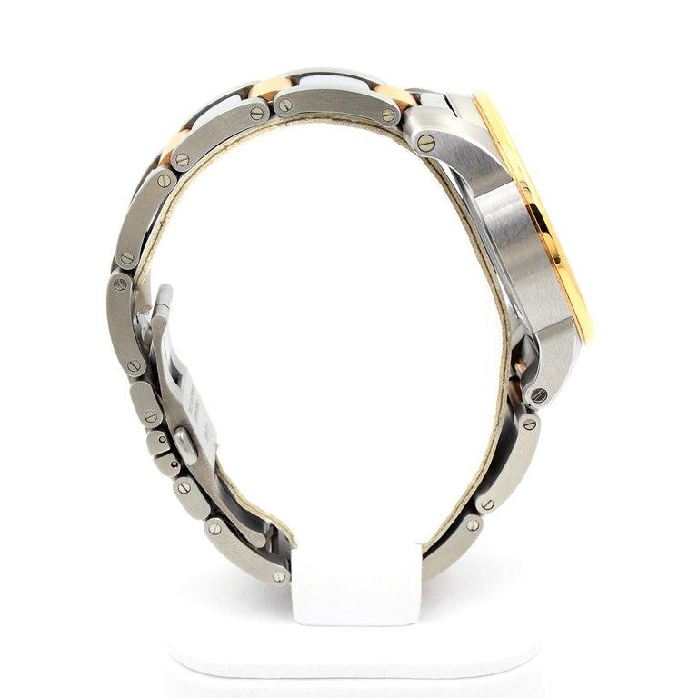Men's Cartier Calibre de Cartier 18 Karat Pink Gold & Stainless Steel Watch For Sale