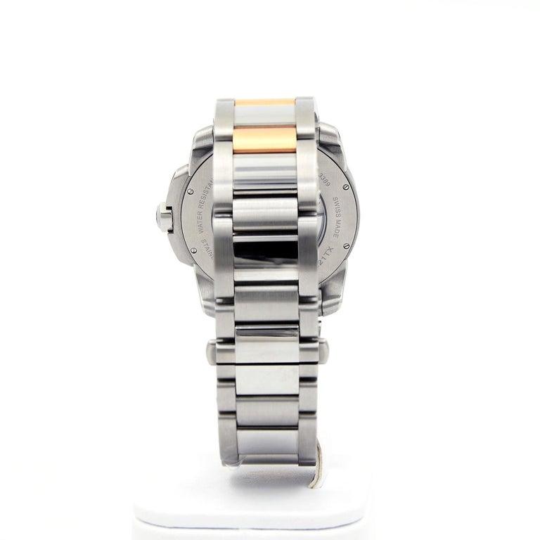 Cartier Calibre de Cartier 18 Karat Pink Gold & Stainless Steel Watch For Sale 2