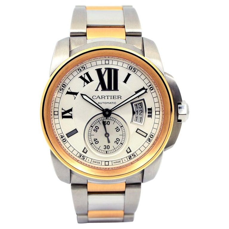 Cartier Calibre de Cartier 18 Karat Pink Gold & Stainless Steel Watch For Sale