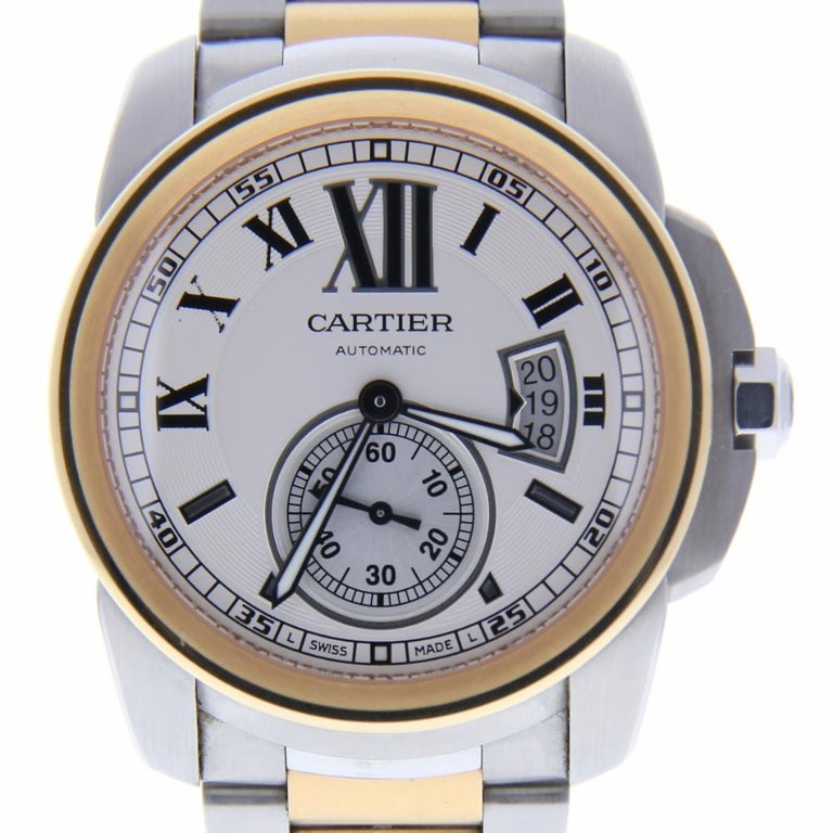 6228f8e6994 Cartier Calibre De Cartier 3389 With 6.5 in. Band and White Dial For Sale  at 1stdibs