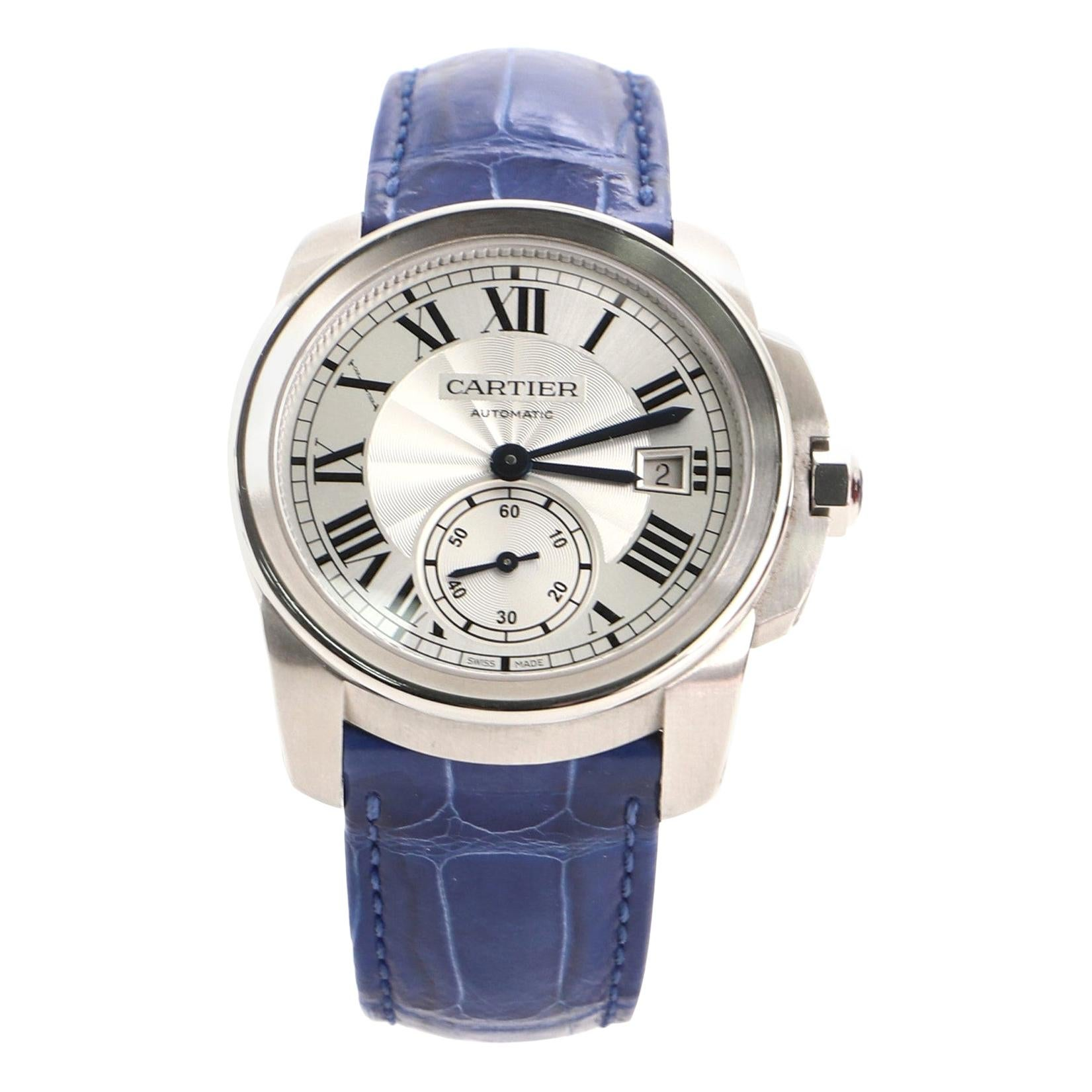 Cartier Calibre de Cartier Automatic Watch Stainless Steel and Alligator