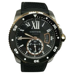 Cartier Calibre de Cartier Diver W7100055 3729 18 Karat Gold and Steel