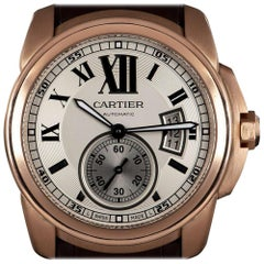 Cartier Calibre de Cartier Gents 18 Karat Rose Gold Silver Dial W7100009