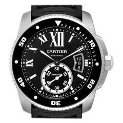 Cartier Calibre Diver Black Rubber Strap Steel Men's Watch W7100056 Box Papers